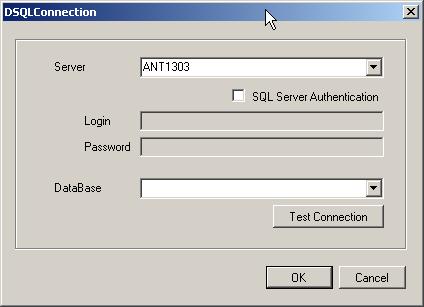 Окно программы для подключения к SQL